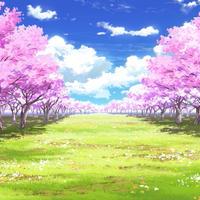 【イラスト背景】【合作】時差雲03_桜04_草原04
