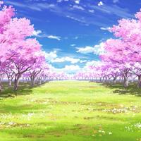 【イラスト背景】【合作】時差雲02_桜04_草原04