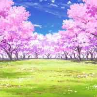 【イラスト背景】【合作】時差雲02_桜05_草原04