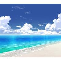 【イラスト背景】【合作】時差入道雲03_海09