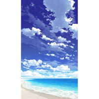 【イラスト背景】【合作】青空_縦PAN用03_海10