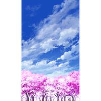 【イラスト背景】【合作】青空_縦PAN用05_桜06
