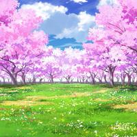 【イラスト背景】【合作】時差雲04_桜05_草原01