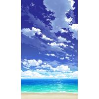 【イラスト背景】【合作】青空_縦PAN用03_海06