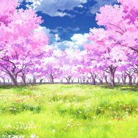 【イラスト背景】【合作】時差雲05_桜05_草原05