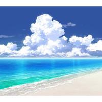 【イラスト背景】【合作】時差入道雲02_海09