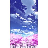 【イラスト背景】【合作】青空_縦PAN用03_桜06