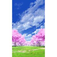 【イラスト背景】【合作】青空_縦PAN用05_桜05_草原02