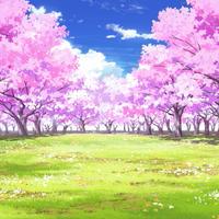 【イラスト背景】【合作】時差雲03_桜05_草原04