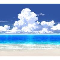 【イラスト背景】【合作】時差入道雲02_海08