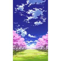 【イラスト背景】【合作】青空_縦PAN用01_桜04_草原04