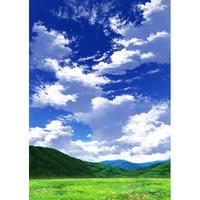 【イラスト背景】【合作】青空_縦長用10_山01_草原01