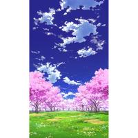 【イラスト背景】【合作】青空_縦PAN用01_桜05_草原01