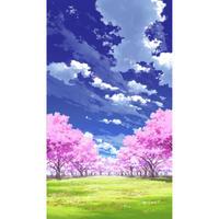【イラスト背景】【合作】青空_縦PAN用03_桜05_草原04