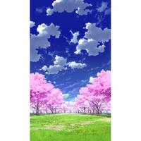 【イラスト背景】【合作】青空_縦PAN用02_桜05_草原02