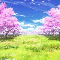 【イラスト背景】【合作】時差雲02_桜04_草原05