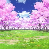 【イラスト背景】【合作】時差雲01_桜05_草原02