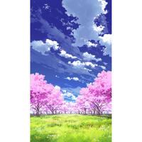 【イラスト背景】【合作】青空_縦PAN用03_桜05_草原05
