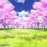 【イラスト背景】【合作】時差雲01_桜05_草原05