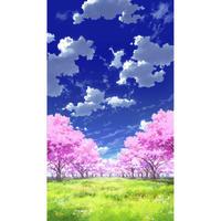 【イラスト背景】【合作】青空_縦PAN用02_桜05_草原05