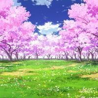 【イラスト背景】【合作】時差雲01_桜05_草原01
