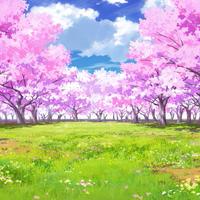【イラスト背景】【合作】時差雲04_桜05_草原03