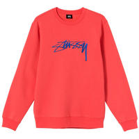 STUSSY SMOOTH STOCK EMBROIDERED CREW PALE RED