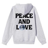 STUSSY PEACE & LOVE HOOD ASH HEATHER