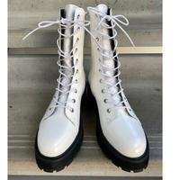 white enamel  boots