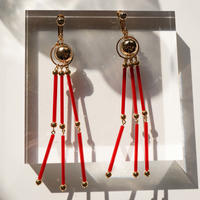 Beads Tassel Pierce & Earring -Red-