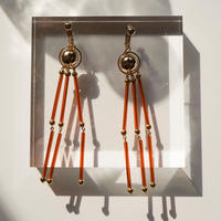 Beads Tassel Pierce & Earring -Brown-