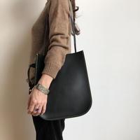 juju made / black leather paddle  bag  / ジュジュ メイド / レザーバッグ