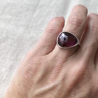 Ishi jewelry / natural stone ring / Pink tourmaline  silver ring