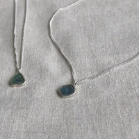 Ishi jewelry / slice diamond necklace blue diamond / silver chain