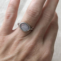Ishi jewelry / natural stone ring / moonstone / silver ring