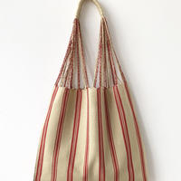 pips / cotton handwoven hammock bag / beige x red