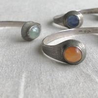 ishi jewelry /double stone cuff  /925 silver