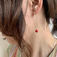 cinq / Eclips  earring / silver with coral