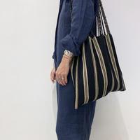 pips / cotton handwoven hammock bag / Black x Beige  / ピップス /ハンモックバッグ