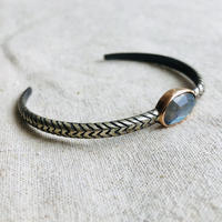 ishi  jewelry / Cobra natural stone bangle /Labradorite   / 10k rose gold  bezel / silver bangle