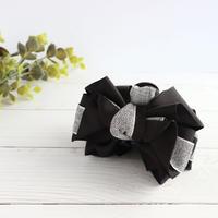 <7cmクリップ>リネンリボンとグログランリボンを使った大人のバンスクリップ(黒xグレー)bc070