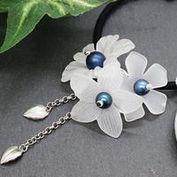 半透明な3種のお花のヘアゴムh165