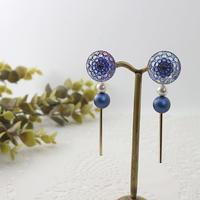 金属アレルギー対応*ブルーのチェコガラスボタンを使ったイヤリングy209