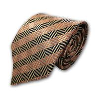 西陣織ネクタイ 黒サーモンピンク 格子(商品番号:051419)