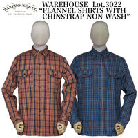 """WAREHOUSE Lot.3022 """"FLANNEL SHIRTS WITH CHINSTRAP NON WASH"""""""