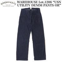 "WAREHOUSE Lot.1206 ""USN UTILITY DENIM PANTS OR"""