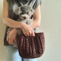 【編み図】わんことお揃いのアラン模様のハンドバッグ