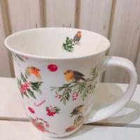 コマドリのクリスマス柄 大きめマグカップ