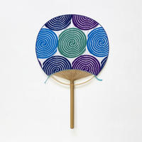うちわ [蚊取り線香] 紫系 / Round Fun -Mosquito coil-