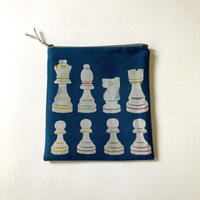 ポーチ [チェス] 紺 / Zipper Pouch -Chess-